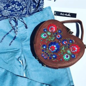 New Beautiful Embroidery Designed Heart Shaped Bag
